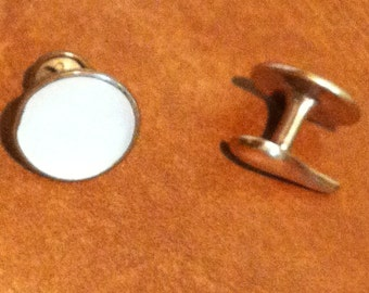 Vintage Gold Tone Faux Pearl Cufflinks