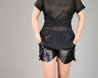 Sheer Top, Sexy Black Top, Summer Blouse, Chiffon Blouse, Evening Top, Loose Top, Black Tunic, Ladies Top, Casual Blouse, Fashion Black Top