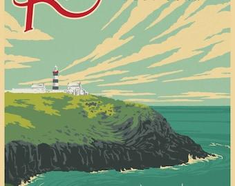 Wild Atlantic Way, Kinsale, Ireland. Vintage Style Travel Poster