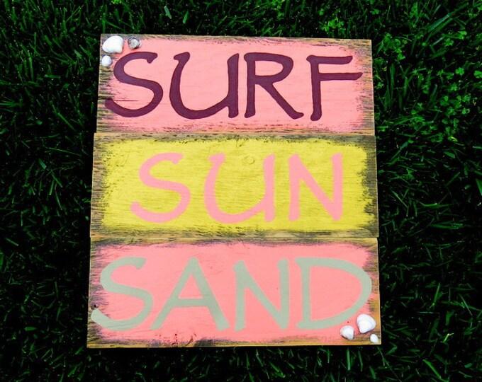 Surf Sun Sand - Wood Pallet Art