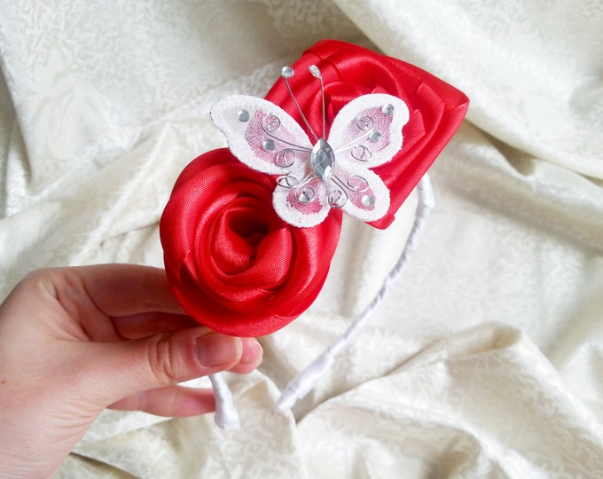 Red and white headband with handmade satin flowers and butterfly with sparkling elements, flower girl bridesmaid