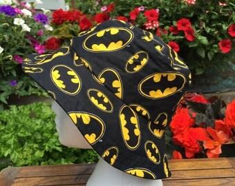 BatMan Bat Man Reversible Bucket hat. Summer Sun Hat. Spring Hat. Beach Hat. Fall hat.