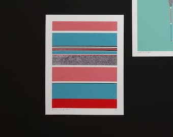 Handmade 4 Color Screenprint Mint Floater Stripes, limited edtion