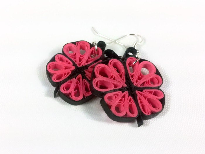 Quilling Earring Designs Butterfly : Handmade Butterfly Earrings Paper Quill Earrings butterfly