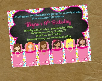 Sleepover Slumber Party  Birthday Invitation  -Digital or Printed