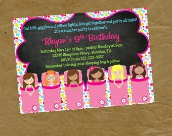 Sleepover Slumber Party  Birthday Invitation  -Digital or Printed