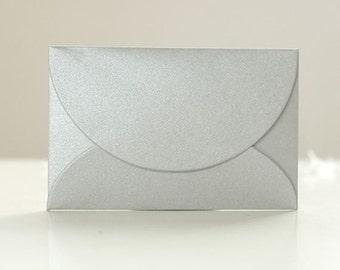 Glossy Mini Envelopes - Silver (10 pcs) Small Paper Envelope Wedding Invitation C0079