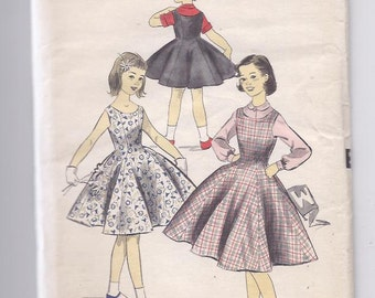 Advance 8102 Vintage Sewing Pattern 1950s Girl's Dress size 8