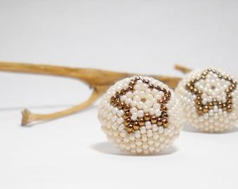 Bronze Star - Beaded earrings -  Seed Beaded stud earrings - Ivory - Bronze - Mother Day Gift