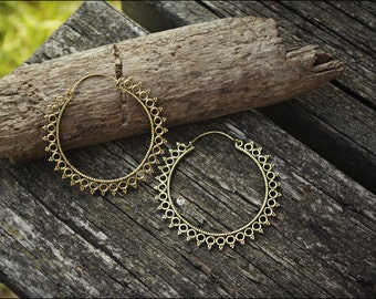 Arets bronze. Hoop earrings ethnic style. Tribal jewelry. Boho