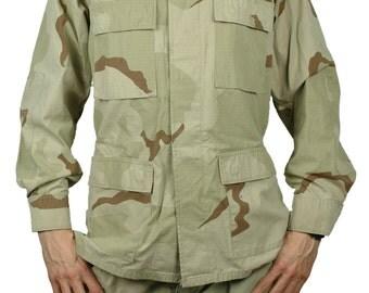 Men's Medium Long Marine Corps Camo Jacket Genuine U.S. Army Original Military Coat Desert Camouflage Green Man's Long Sleeve USMC Large
