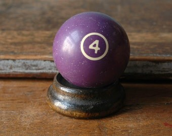 "Purple 4 Billiard Pool Ball 2.25"" Four Solid Solids Number Paperweight Decor Plastic Bakelite Retro Pool Accessories Number"