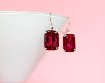 Vintage Dark Rose Earrings Dangle Earrings Octagon Earrings Pink Birthstone Earrings Hollywood Glam Rhinestones Jewelry Gifts for Her