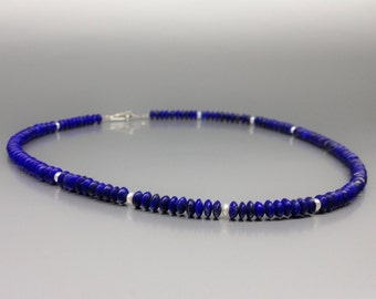 Mat Lapis Lazuli and freshwater Pearls necklace - natural afghan Lapis Lazuli - blue and white jewelry - Statement Necklace - gift idea