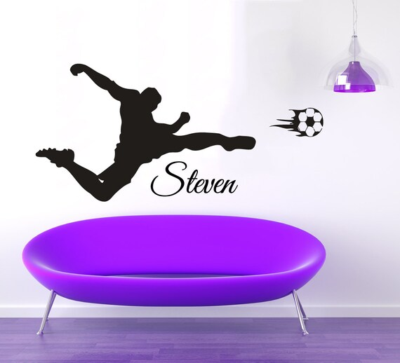 soccer wall decals man personalized name sport football player gym