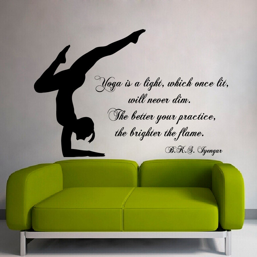 Yoga Wall Light : Wall Decals Quote Yoga Is a Light Which Once Lit Gym Art