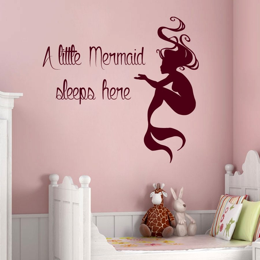 mermaid wall decals quote a little mermaid sleeps here vinyl little mermaid wall decals roselawnlutheran