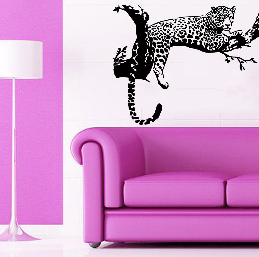 Cheetah Wall Decals Leopard Relaxing On A Tree Wild Animals
