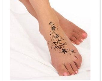 Temporary Tattoo Flower Waterproof Fake Foot Tattoo Thin Durable