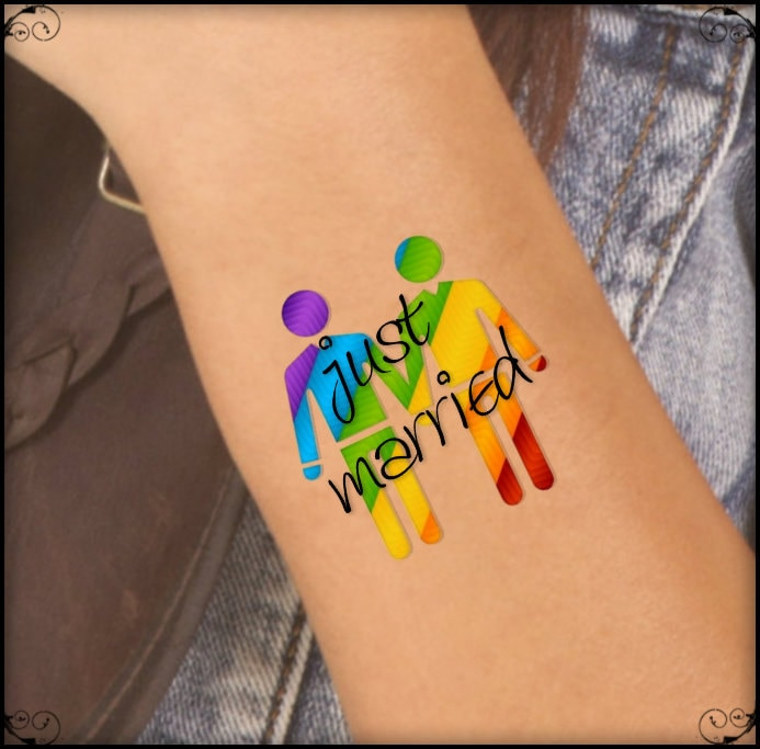 temporary tattoo 2 lgbt gay just married waterproof fake. Black Bedroom Furniture Sets. Home Design Ideas
