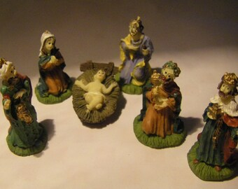 "Six Piece Miniature Nativity Scene for Craft/Mini Setting 1 1/2"" Tall"
