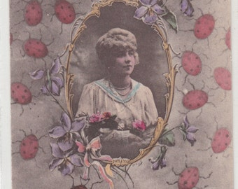 Porte Bonheur French C 1910 Postcard Teeming With Ladybugs, Portrait  Of Young Girl In Center
