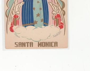 Santa Monica California Serigraph Postcard-1950-60-Madonna And Angels Sheehan -Gold Details