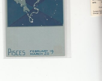 Serigrapgh Postcard Constellations  Of The Zodiac, Pisces,Artist Paul Dubosclard,Publisher Sheehan,Topanga Ca.