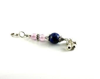 Beaded Zipper Pull/Zipper Charm/lapis lazuli zipper pull/ZIPPER PULL