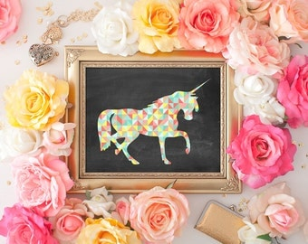 75% OFF SALE - Geometric Unicorn Art Print - 8x10 Printable Art, Unicorn Decor, Unicorn Print, Wall Art, Unicorn, Chalkboard