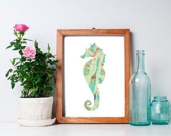 75% OFF SALE - Seahorse Wall Art - 8x10 Seahorse Art, Ocean Animals, Beach Art Print, Nautical Art Print, Ocean Art