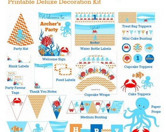 UNDER the SEA Party DECORATIONS, Ocean Birthday, Printable, Personalized, Under the Sea Birthday, Party Supplies, 1st Birthday, You Print