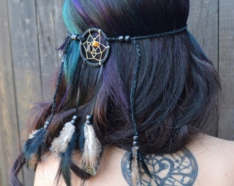 Dreamcatcher Feather Headband - Black Feathers - Hair Accessories - Tribal - Native American - Indian - Burning Man