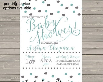 Mint & Gray Baby Shower Invite