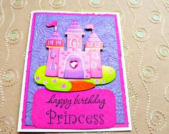 Princess Birthday Card, Girl Birthday card, Birthday Card kids, Birthday Card girl, Girl Birthday, Princess card, Princess castle, pink card