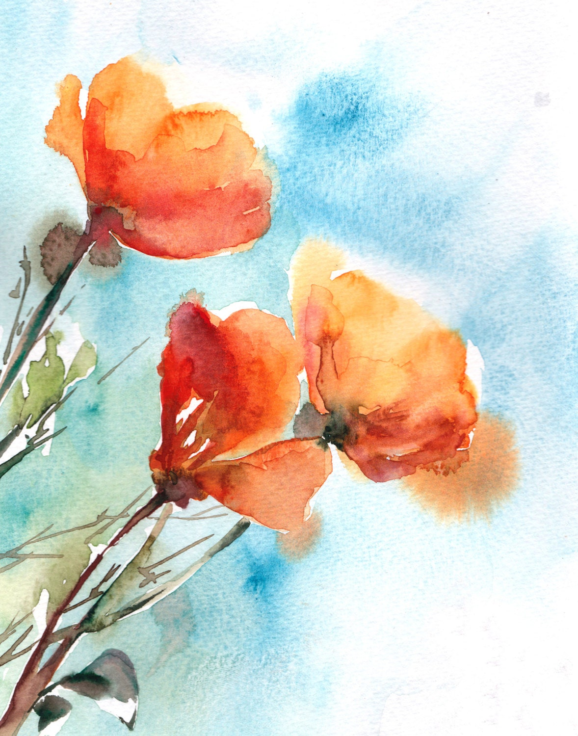 Watercolor Painting Art Print Poppy Flowers by CanotStopPrints