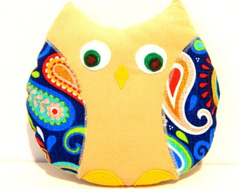 Stuffed Animal Toy, Owl Softie, Soft Toy, Corduroy and Bright and Bold Colored Paisley Cotton Print