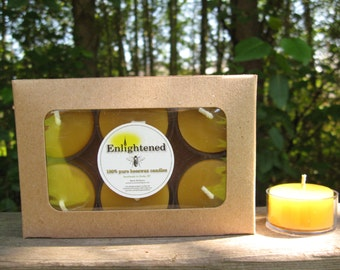 Pure beeswax tealight candles. 6 tealights in a box. Boxes are recycled kraft paper. Unbleached Cotton wick. 100% pure beeswax.