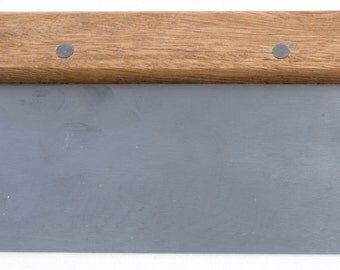 "Straight Soap Cutter w Wooden Handle, Full- Bladed Stainless Steel 3"" x 6"" Blade, (WIN-DSC-1)"