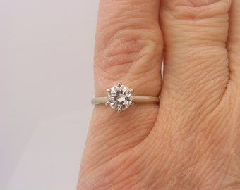 0.74 Carat Round Cut Diamond Solitaire Engagement Ring White Gold 14K