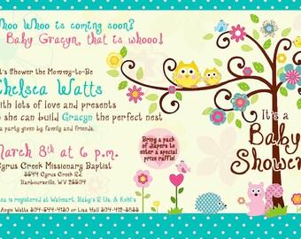 Happi Tree Owl Baby Shower Invitation for Girl