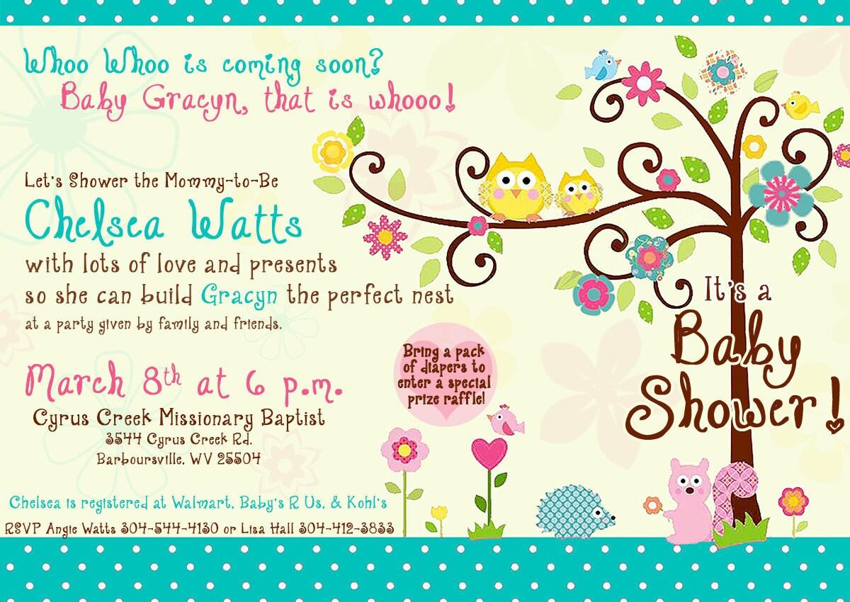 Happi tree owl baby shower invitation for girl for Etsy owl wedding invitations