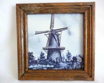 Framed Mosa Delft Tile Made in Holland Windmill Scene