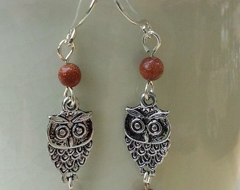 Owl & Goldstone Earrings
