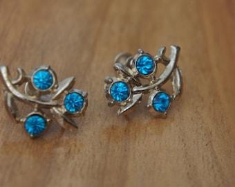 Jewelry Vintage Earrings  Silver Screw Back CZ Blue  L-047