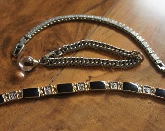 Vintage  Jewelry  Bracelet  Set Charm Black CZ Chain Links S-042