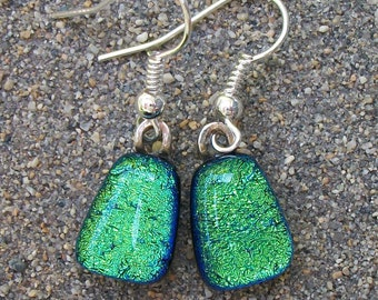Petite light green dichroic glass dangle earrings