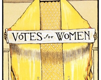 Votes for Women poster, Women's Suffrage Movement, Equality, Equal Rights, Art Nouveau, Vintage Advertising