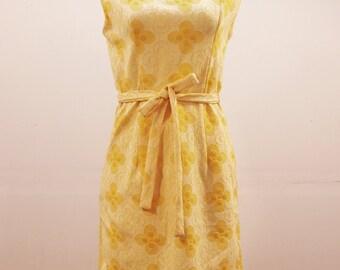 60's Handmade Yellow Sun Dress with Floral Pattern Sleeveless with Matching Belt MEDIUM
