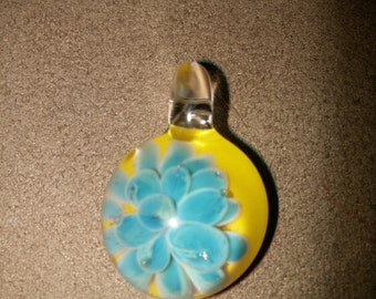 Boro Glass Blue Dot Compression Implosion Bloom Pendant with Yellow Backing